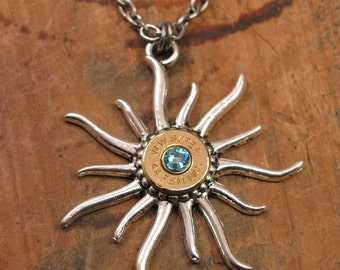 Bullet Casing Jewelry - Hot Caliber Necklace - March Aqua Birthday - Bullet Casing Sunburst Pendant - Optional Swarovski Crystal