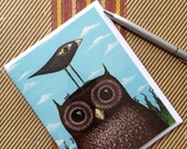 Owl and Bird and Ants  Blank Note Card
