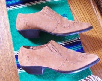 Ankle Boot, Suede ankle boot, Western shoe boot, Leather booties, Cowgirl shoe