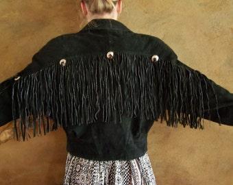 Fringe Leather Jacket,  Black suede jacket,  80s fringe jacket,  black western jacket,  black suede coat, size M