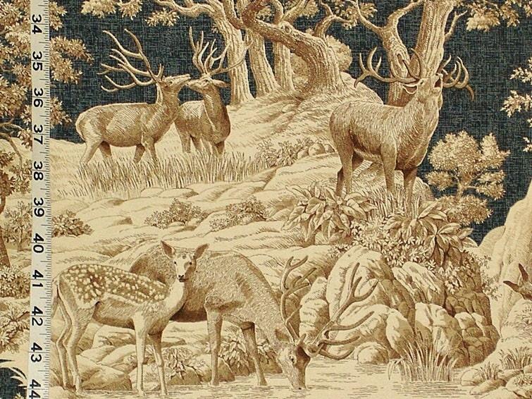 Toile Fabric Remnant Hunt Scene Toile Deer 27x56 Drapery