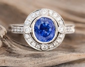 Vintage 2 Carat Oval Sapphire and Diamond Engagement 18k white gold Ring