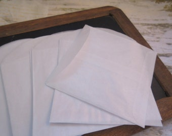 Glassine Envelopes New Old Stock 3 1/2 x 3 1/2 Open End with Flap 25 Pack Scrapbooking Negatives Collecting Weddings