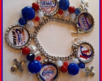 LA Clippers Charm Bracelet Unique Custom made Sports & Themed Jewelry nfl,mlb,ncaa,nhl,nsl,nba,nascar,jewelry,women's NBA charm bracelets