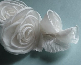 Silk Millinery Rose Corsage in White Silk  for Bridal, Hats, Costumes MF123