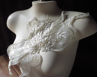 Lace Applique in Ivory Organza for Bridal, Straps, Sashes, Lingerie, Costume Design IA 209