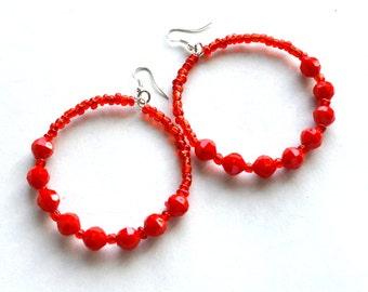 Beaded hoop earrings, Red hoop earrings ,wire wrapped hoops ,hoop earrings,wrapped hoops,boho earrings,Gypsy earrings,hoop, Bali