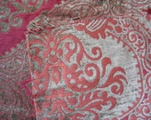 Cut Velvet/Chenille Upholstery Fabric Remnant Red Orange Olive Green Reversible