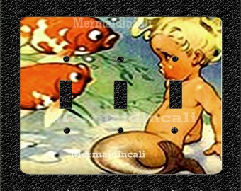Baby Mermaid with Goldfish Triple Toggle Light Switch Plate Covers