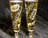 2 Personalized Etched Glass Wedding Glasses, Comic Book Wedding Flutes Beer Glasses