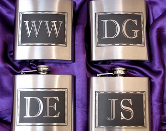 9 Monogrammed Flasks, Gift for Groomsmen Flask, Wedding Party Gifts