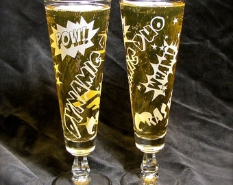 2 Comic Book Wedding Glasses, Beer Flutes for Toasting, Etched Glass Gift for Bride & Groom
