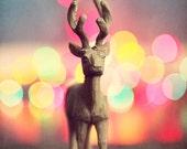 Oh Deer, Christmas Bokeh Photography, colorful deer photo, elk, reindeer decor, green, Holiday lights, brown wood ornament, tan, wall decor