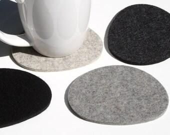 Pebble Drink Coasters 5mm Thick Merino Wool Felt Fabric-Natural Organic Shape Nature Inspired Barware Eco Friendly Housewarming Hostess Gift