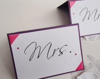 Wedding signs-Mr and Mrs-Ribbon Corners with floral embossing and crystals- Tent Style-5x7