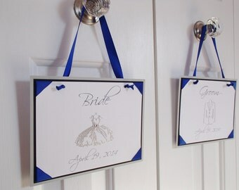 Wedding Hanging Double Sided Sign- Bridal Suite- Groom's Suite- I Do- Me Too