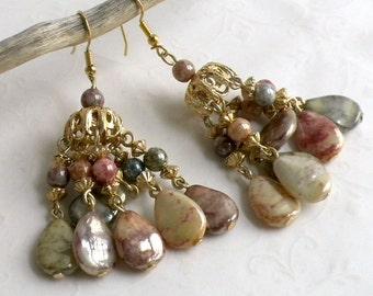 Chandelier Dangle Pierced Earrings - Gold Tone Marbleized Earth tone