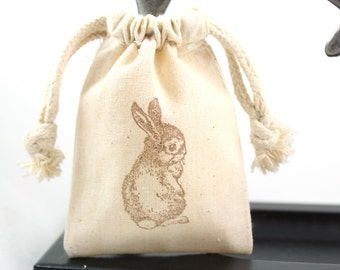 Muslin Favor Bags Little bunny - Set of 10 - Baby shower favors