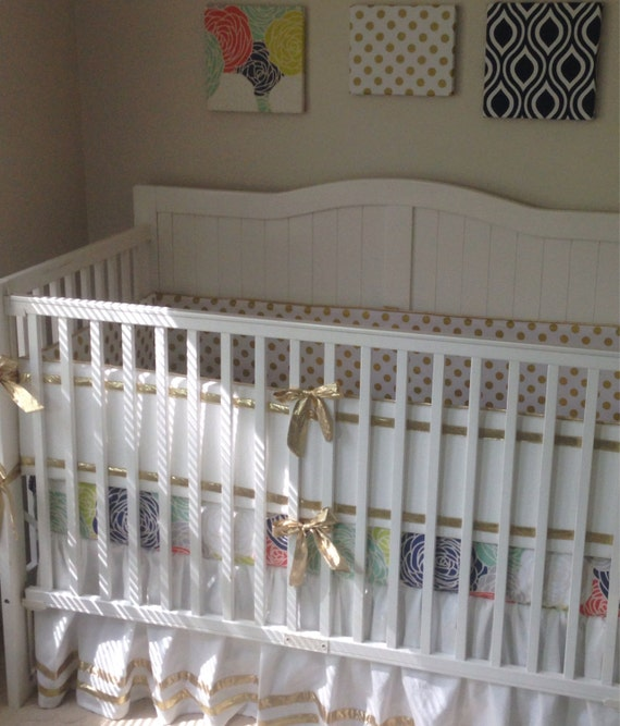 Gold Coral Mint and Navy Crib Bedding Set by