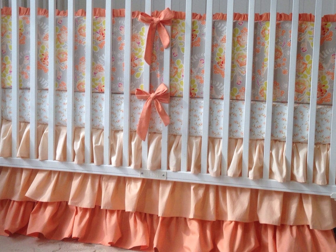 sweet as honey coral peach and gray crib by butterbeansboutique. Black Bedroom Furniture Sets. Home Design Ideas