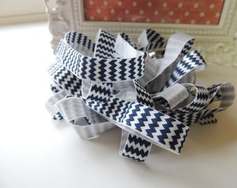 "5 Yards of 5/8"" Chevron Printed Fold Over Elastics FOE -  Navy Blue and White"