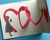 Couples card, Valentine, heart pop up, boy and girl, heart coil, pink  and cream, for you, gifts, anniversary, wedding