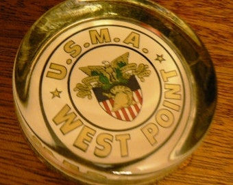 vintage office ... PAPERWEIGHT WEST POINT  glass paper weight ...
