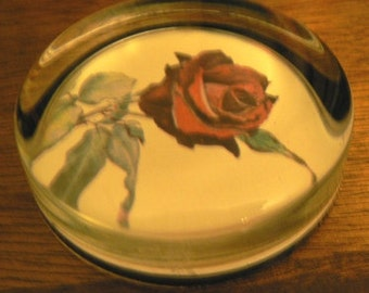 vintage office ... PAPERWEIGHT ROSE  glass paper weight ...