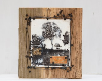 Country TREE Original Encaustic Painting on Reclaimed Wood