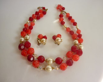 CHUNKY Bead Necklace & Earring Set 50s/60s red, watermelon pink and pearls