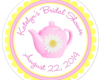 Custom Bridal Shower Labels, Pink Teapot with Daisy, Tea Party Bridal Party, Tea Party Shower - Personalized for YOU