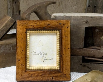 3x4 inch Rustic Brown Wood and Gold Photo Frame/Men/Office Desktop/Cottage Style Small Deluxe Photo Frame