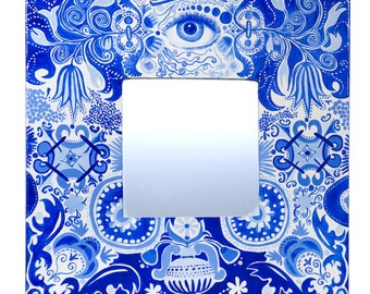 SALE! Intense blue mirror, hand-painted in traditional Delfts Blue style