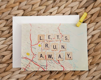 greeting card set / note card, travel, wanderlust, let's run away, fine art photography