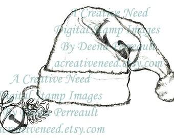 INSTANT DOWNLOAD Digital Stamp Image Santa HAT and Sleigh Bell