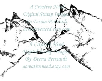 INSTANT DOWNLOAD Digital Stamp Image WOLVES
