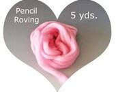 Dream Felt's Merino Pencil Roving 5 yds. of PINK Perfect for Needle Felting