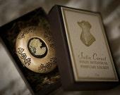 Satin Corset - Victorian Solid Perfume mini compact - Natural Perfume with Lily, Vanilla, Tonka, Rose, Ylang Ylang, Sweet, Floral Scent