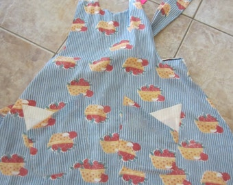 Reversible Apron - Apple Pies And Delicate Beige With Pockets