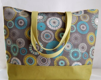 Grey Starburst XL Extra Large BIG Tote Bag / Beach Bag - Ready to Ship