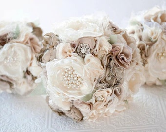 Fabric Bouquet, Silk Flower Wedding Bouquet, Fabric Brooch Bouquet bridal rhinestone and pearl brooches, silk flowers, taupe tan broaches