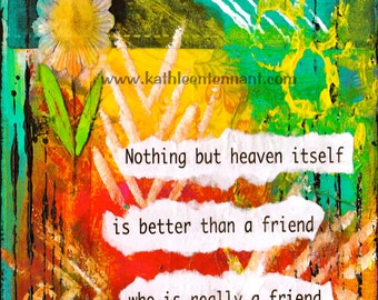 """Friendship 5""""x7"""" Blank Greeting Card with Envelope, Plautus Quote on Card, Mixed Media Art Card, Wholesale Greeting Cards, Stationery"""