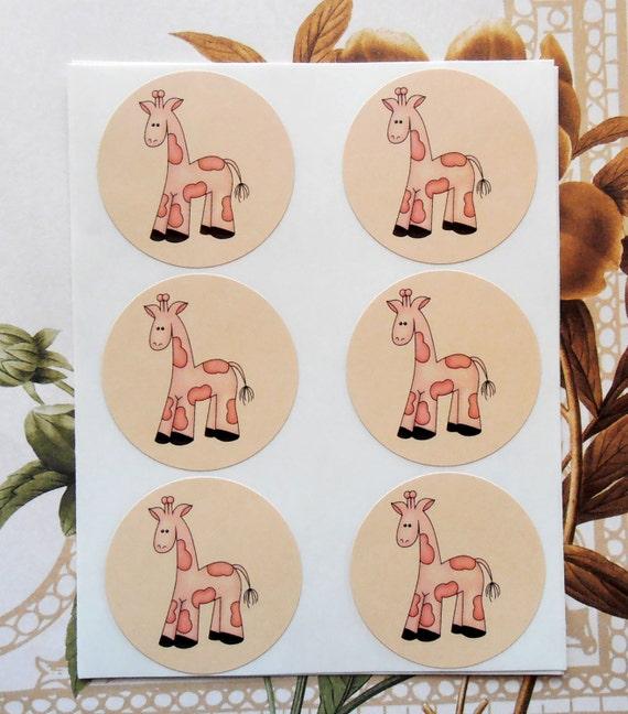 Stickers Baby Shower Girl Boy Giraffe Pink Envelope Seals Party Favor Vintage Style Treat Bag Sticker SB007