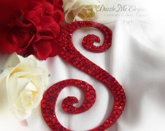 Red Cake Topper - Wedding Cake Topper - Personalized Monogram Letter Cake Topper - Red Crystal Cake Topper - Bride and Groom