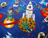 """Alexander Henry  – """"Astro Pups"""" fabric (3 dollars yard) 44 in wide"""