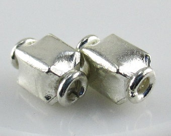 Hill Tribe Silver Handmade Rectangle Beads, DeStash, 10x6mm, (9 beads) LOT 192