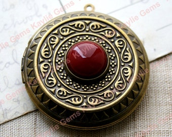 Intricate Opaque Deep Red Glass Jewel Locket Victorian Baroque Antique Style 45mm Large Necklace Pendant - 1 piece