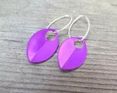 purple earrings in sterling silver. modern leaf jewelry.