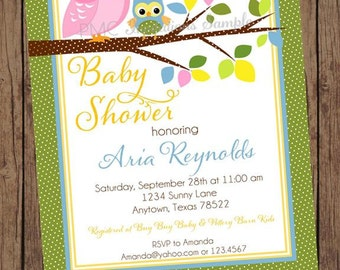 Blue, Green, Yellow Owl Baby Shower Invitations - 1.00 each with envelope