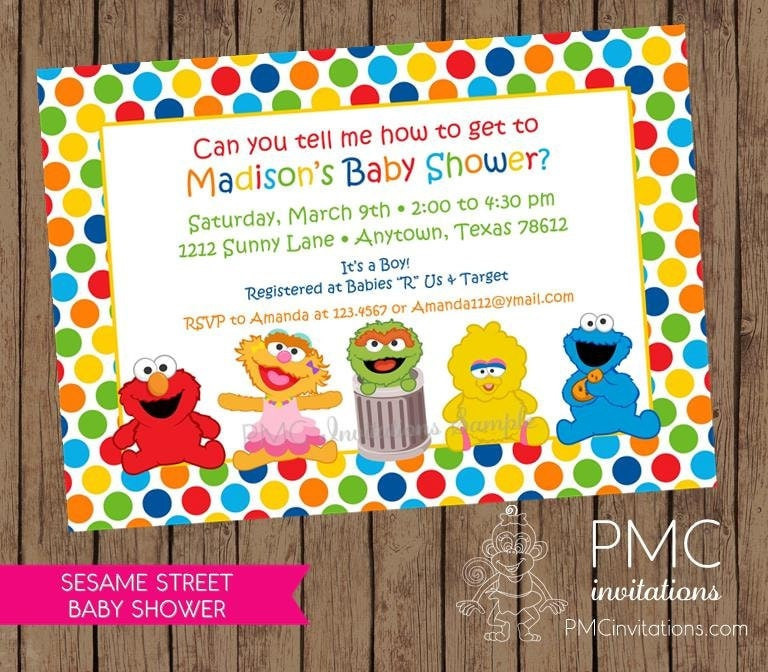 sesame street baby shower invitations each by pmcinvitations